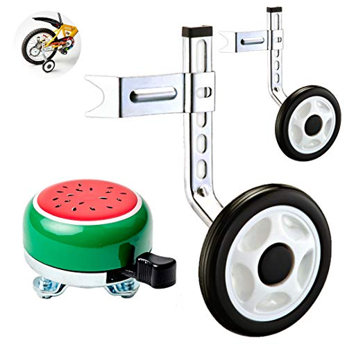 (Ciao! Sports & Outdoors Bicycle Training Wheels for Kids with Free Bell, Adjustable for 12 14 16 18 20 inch Bike. A Perfect stabilizer Accessories Package for Kid)