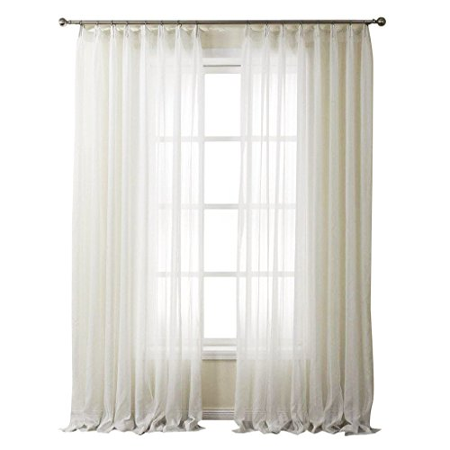 PASSENGER PIGEON Striped Solid White Sheer Curtains Double Pleated Top Window Treatments Draperies Panels With Multi Size Custom 42