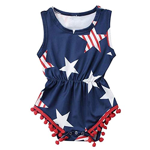 Fashion Baby Girls 4th of July Clothes,Stars Stripe Tassel Print Romper Sleeveless One-Pieces Bodysuit Outfits Sets Navy 3-6 M