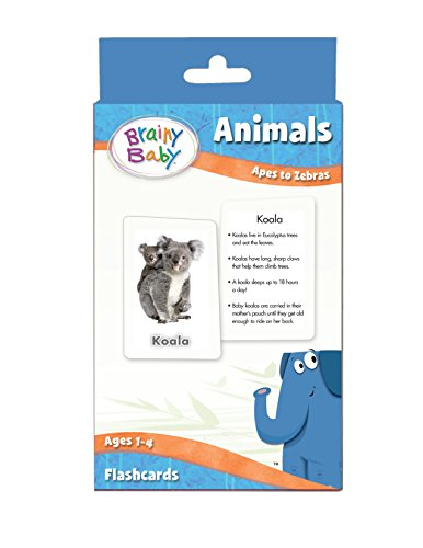 Brainy Baby Animals Flash Cards Set Apes to Zebras Deluxe Edition Brainy Baby Picture