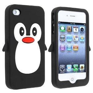 ZeWoo TPU Coque - P002 / Manchot (Noir) - pour Apple iPhone 4 4G 4S Penguin Silicone Étui Housse Protecteur