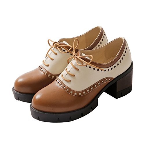 Sexy Wingtip Shoes (Susanny Women Oxford Shoes Lace-up Mid Heels Wingtip Vintage PU Leather Brown Brogue Shoes Pumps 7 B (M) US)