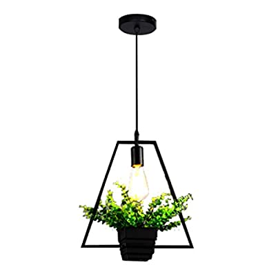 TOOGOO Black trapezoidal green plant hanging lamp retro industrial style creative personality chandelier clothing shop cafe restaurant lamp Nordic iron flower pot lamp