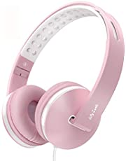 Kids Headphones for Girls, Jelly Comb Girls Lighhtweight Foldable Stereo Bass Kids Headphones with Microphone, Volume Control for Cell Phone, Tablet, Laptop, MP3/4- for Aged 6 or Above (Pink)