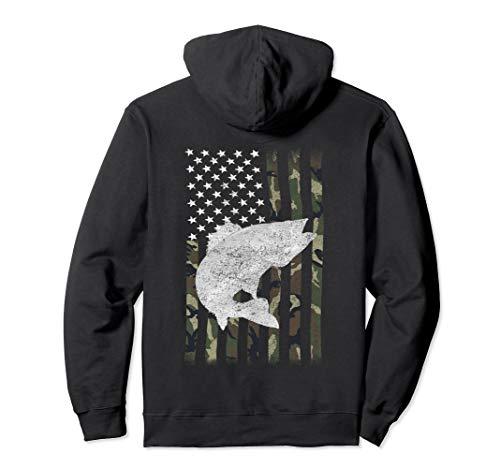 Walleye Fishing Camouflage Flag Angler Shirt Hoodie on Back