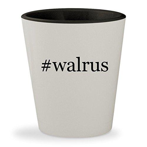 #walrus - Hashtag White Outer & Black Inner Ceramic 1.5oz Shot Glass - Beatles Walrus Costume