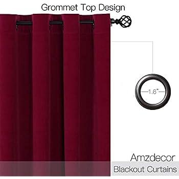 Amzdecor Ruby RED Velvet Curtains - Lower Light Dimming Panels for Media Room/Master Bedroom, W52 x L95-inch, 2 Panels