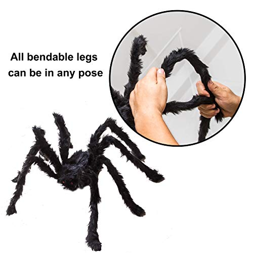Four Halloween Realistic Hairy Spiders Set, Valuable Halloween Props, Halloween Spider Set for Indoor and Outside Decorations by JOYIN (Image #2)
