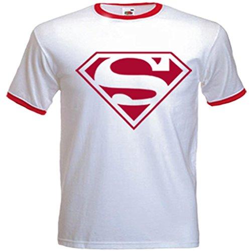 Superman Cool Retro 80s RInger T-shirt for Men - S to XXL