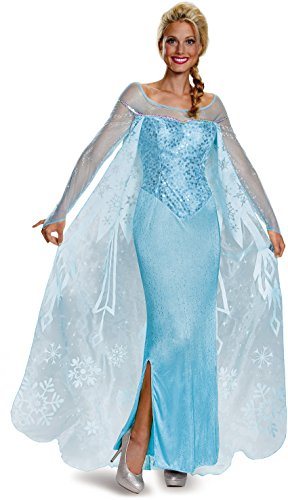 [Disguise Women's Elsa Prestige Adult Costume, Blue, Small] (Frozen Costume Elsa For Adults)