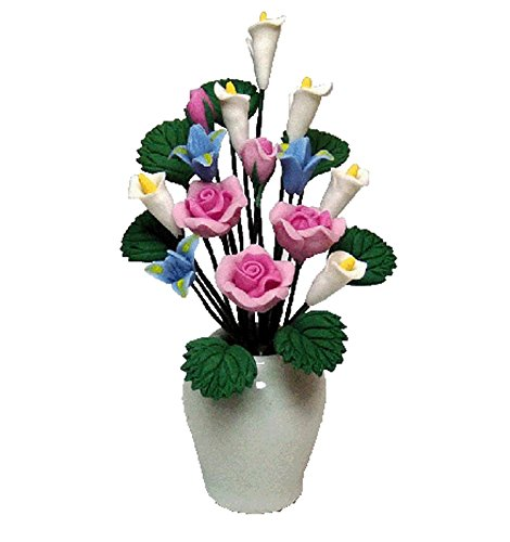 Bright Delights Dollhouse Miniature Pink Roses & Assorted Flowers in White Vase
