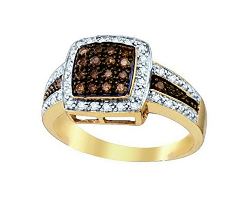 (Brandy Diamond Chocolate Brown 14k Yellow Gold Princess Shaped Queen Bee Cocktail Ring 1/2 Ctw.)