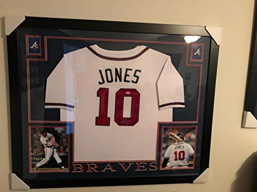 Chipper Jones Autographed Signed Atlanta Braves 35 X 43 Custom Framed Jersey Memorabilia PSA/DNA