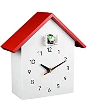 Vivid Large Cuckoo Clock - White Birdhouse, Minimalist Modern Design, Cuckoo Clock with Timed Alarm Clock, Chime Has Automatic Shut-Off Kitchen & Home,A2red
