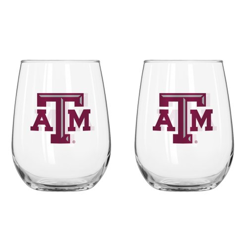 NCAA Texas A&M Aggies Curved Beverage Glass, 16-ounce, - M Glasses
