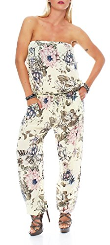 malito Jumpsuit con Florales Print Body Catsuit Playsuit Casual 8005 Mujer Talla Única amarillo