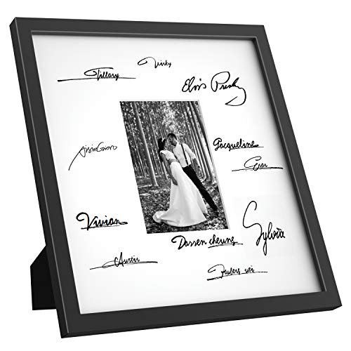 ONE WALL Tempered Glass 14x14 Signature Picture Frame with Mats for 5x7 Photo, for Wedding Graduation, Black Wood Frame for Wall and Tabletop - Mounting Hardware -
