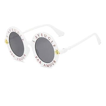 WANGKEAI Gafas De Sol Redondas Retras Letras Inglesas Gafas ...