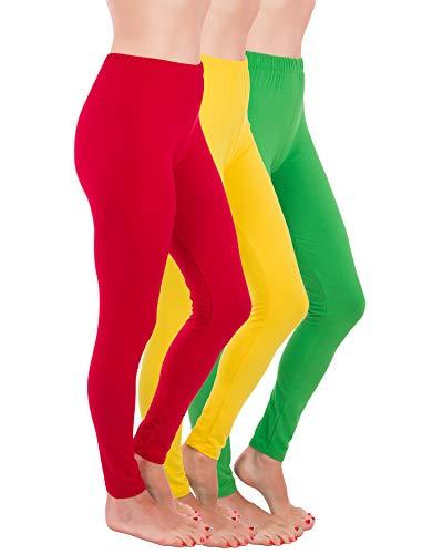 Homma Premium Ultra Soft High Rise Full Length Leggings, Regular and Plus Size (S/M/L, Red/Yellow/Green)