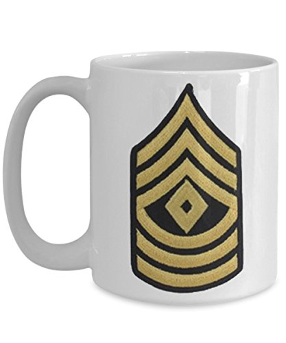US Army Coffee Mug - First Sergeant - 1SG (E8) - 15 oz Mug - Gift for Veteran, Soldier, Retirement, Promotion