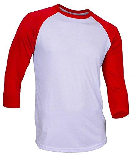 Hat and Beyond DR Raglan 3/4 Sleeve T-Shirts Baseball Fit Plain Mens Womens Jersey 5oz (Small, - Baseball Sports T-shirt Womens
