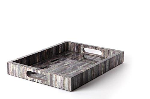 (Carla Carstens Melange Bone Grey Medium Tray   Vanity Cosmetic Jewelry Storage Rectangle Ottoman Serving)