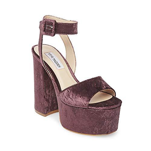 Steve Madden Women's Soar Platform Sandals, Purple Velvet, 5 M