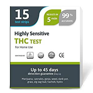 Exploro Highly Sensitive Marijuana THC Test Kit – Medically Approved Drug Test Strips for Detecting Any Form of THC in…