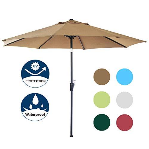 arket Patio Umbrella with Auto Tilt and Crank, 8 Ribs (Tan) ()