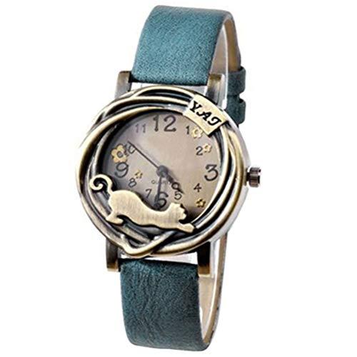 Sanwood Womens Fashion Vintage Bronze Case Cat & Flower Quartz Analog Wrist Watch (Blue)