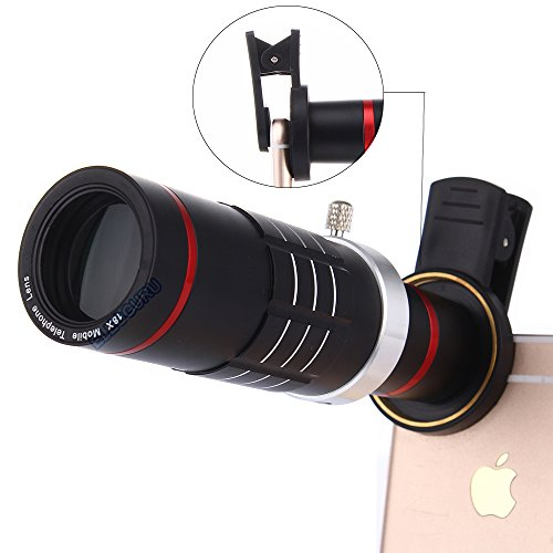 Telephone Lens (Universal 18X Zoom HD Clip On Mobile Phone Optical Camera Lens Kits,WMTGUBU Telescope Telephoto lens+15X Super Macro Lens+0.6X Wide Angle Lens for iPhone Samsung most Android Smartphones(Black))