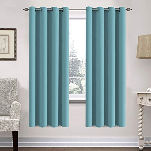 H.VERSAILTEX Insulated Thermal Blackout 52 x 72 Inch Long Curtain Panels Pair - Nickel Grommet Window Drapes for Bedroom/Living Room (Solid Aqua,Set of 2)