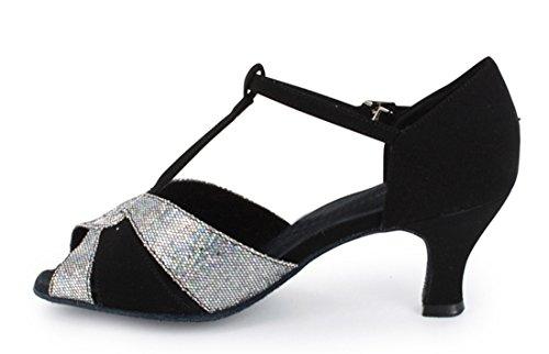 Tda Womens T-strap Fibbia Moda Salsa Tango Ballroom Latino Danza Moderna Scarpe Da Sposa Argento Nero