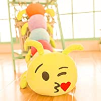 Triad basics® Caterpillar Kiss Emoji |Smiley | Emoticon Cushion Pillow Soft Toy 55cm (Kissing)