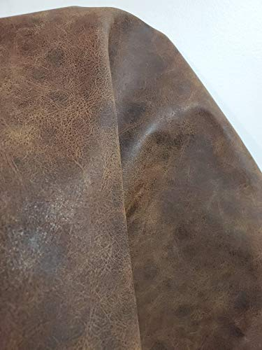 Brown Distressed 2 Tone Oily Faux Vegan Vegan {Peta Approved} Leather Synthetic Pleather 0.9 mm Madison 1 Yard 52 inch Wide x 36 inch Long Soft Smooth Vinyl Upholstery Brown Crazy Horse Distress