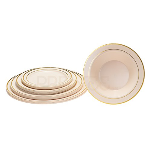 DELUXE PLASTIC PARTY DISPOSABLE BOWLS | 12 Ounce Hard Wedding Soup Bowls | Ivory with Gold Rim, 20 Pack | Elegant and Fancy Heavy Duty Party Supplies Plates for all Holidays and Occasions