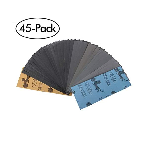 Schleifpapier-Set-120-bis-3000-Grit-Sortiment-Trocken-Nass-Schleifpapier-Blatter-fur-Automobilschleifen-SchleifenHolzbearbeitungHolzdrehenVeredeln-9-x-23CM-45-Stuck