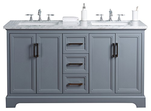 - Stufurhome HD-1525G-60-CR Ariane 60 inch Slate Gray Double Vanity Cabinet Dual Bathroom Sinks, 60