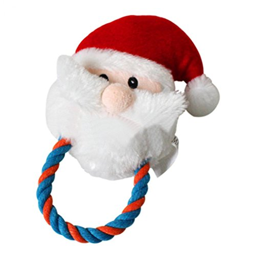 Cartoon Santa Claus Shape Pet Plush Sound Squeak Puppy Cat Chewing Play Toys (Plush Puppies Santa)