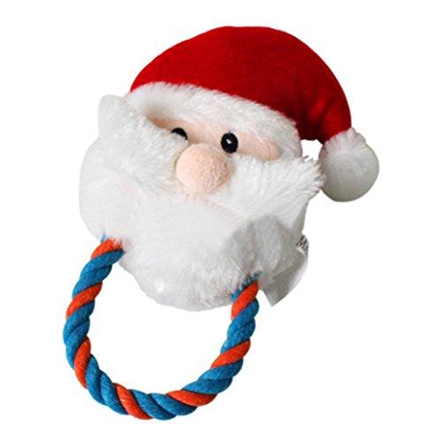 Cartoon Santa Claus Shape Pet Plush Sound Squeak Puppy Cat Chewing Play Toys (Plush Puppies Santa)
