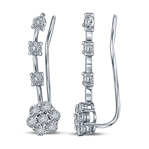 1/20ct Round White Diamond Sterling Silver Flower Climber Ear Cuff Ear Jacket Earring For Teens Womens
