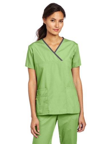 WonderWink Women's Scrubs Charlie 5 Pocket Y-Neck Wrap Top, Green Apple, Small - Medical Scrub Suit