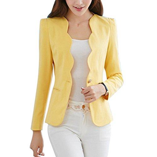 Longues Blazer Printemps Tops Femme Manteau Sfit Manches Jaune Automne Veste Slim Casual Jacket pour PZnFqPw