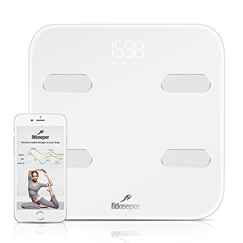 Fitkeeper Smart Body Scale, Body Fat Scale, Bluetooth Digital High Accuracy Body Fat Weight Bathroom Scale Wireless Body Composition Analyzer Monitor Body Analysis Scale with iOS, Android App (Milky)