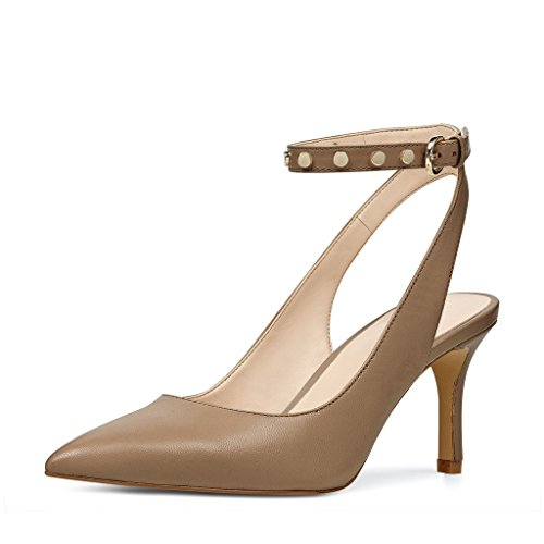 perfect for sale YDN Women Low Heel Slingback Pumps With Ankle Strap Pointy Toe Dressy Studded Shoes Brown Manchester cheap price for sale manchester great sale cheap price xhS15GAWjd