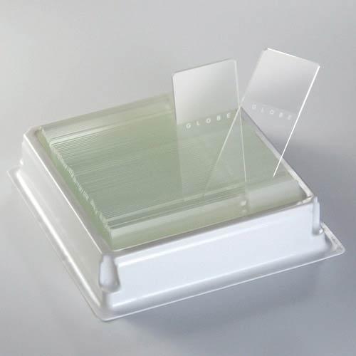 Globe Scientific Diamond 1380-50B White Glass Microscope Slide, 25 x 75mm Size, Ground Edges, Blue Frosted (1,440 slides)