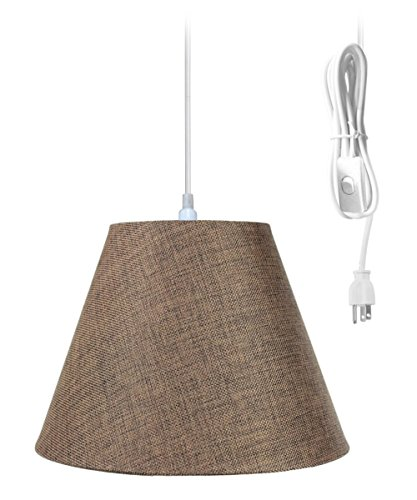 Plug-in Pendant Light by Home Concept – Hanging Swag Lamp Chocolate Burlap Shade – Perfect for Apartments, dorms, no Wiring Needed Brown, White One-Light