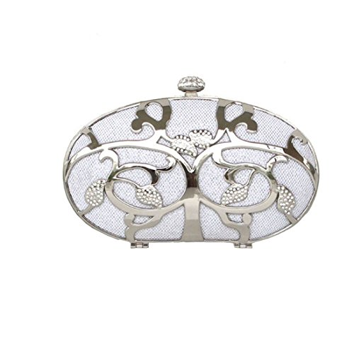 Clutch Case Dilize Party Shell Embellished Metal Women's Hard Purse Silver 1qI01