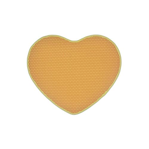 f5zhangdd Heart Waterproof Pet Cat Mat Bed House Floor Double Layer Cat Trapping Mat Non Slip Kitten Clean Pad Products,Yellow,62.5X52Cm