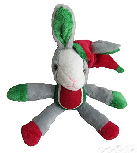 Iconic Pet Christmas Rabbit with Tennis Ball Squeaky Holiday Pet Dog Stuffed Toy ()